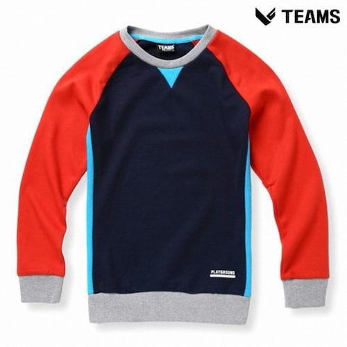 에이션패션 팀스폴햄 공용 배색 나그랑 맨투맨 티셔츠 TU1H061_RD_이미지