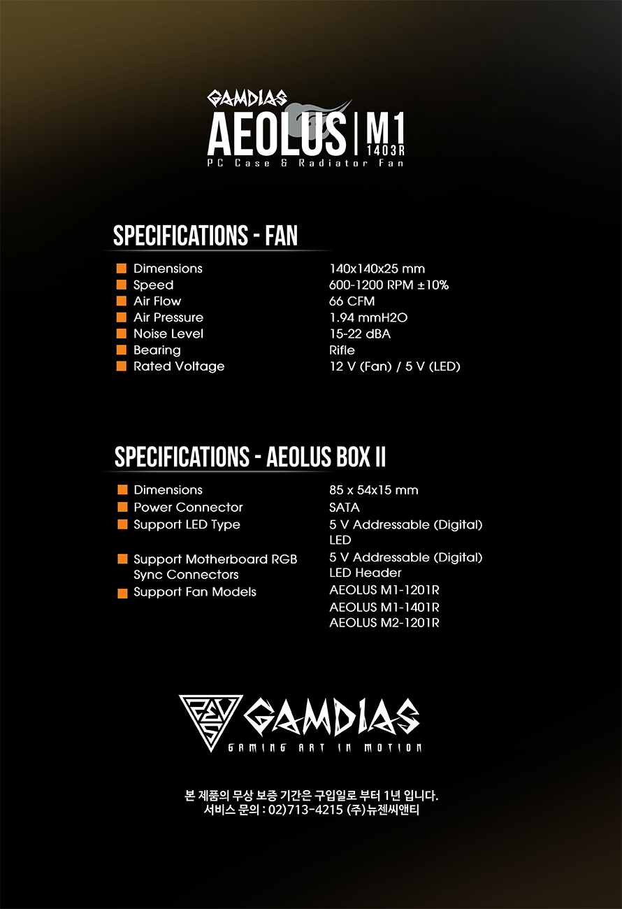 GAMDIAS  AEOLUS M1 1403R(3PACK/Controller)