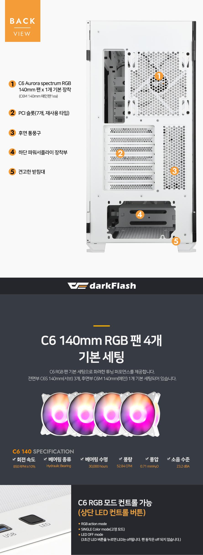 darkFlash DLX23 MESH RGB 강화유리 (화이트)