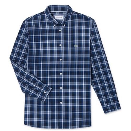 동일드방레 라코스테 포플린 멀티 체크 코튼 슬림 셔츠 CH7503-18A166_이미지