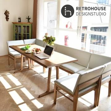 레트로하우스 폰테 리빙다이닝 원목 패밀리 식탁세트 1800(의자5개+벤치1개)