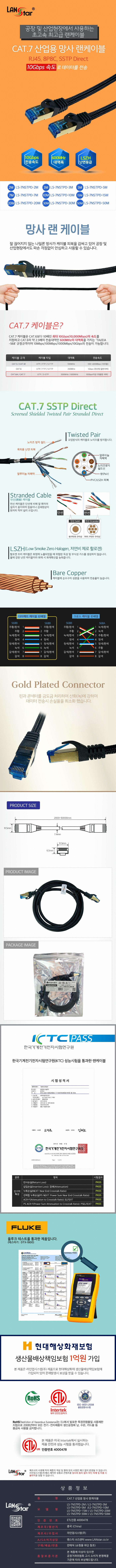 라인업시스템 LANSTAR CAT.7 SSTP 다이렉트 산업용 망사 랜 케이블 (5m)