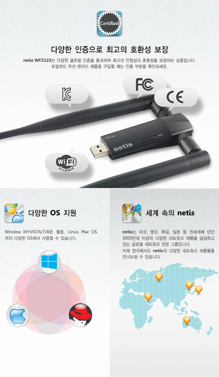 netis WF2122 USB 2.0 무선랜카드