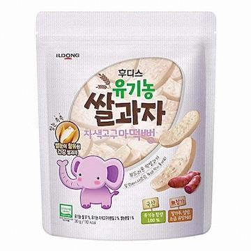 일동후디스  아기밀냠냠 유기농쌀과자 자색고구마떡뻥 30g (1개)