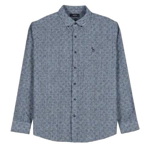 LF 헤지스(HAZZYS) 블루 체크 면 긴팔 캐주얼 셔츠 HZSH7D361B2_이미지