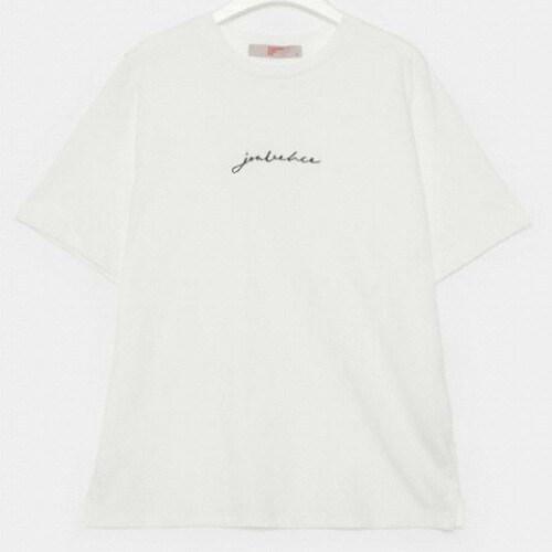 에잇세컨즈 여성 아이보리 코튼 레터링 엠브로이더리 반소매 티셔츠 329742LYG0_이미지