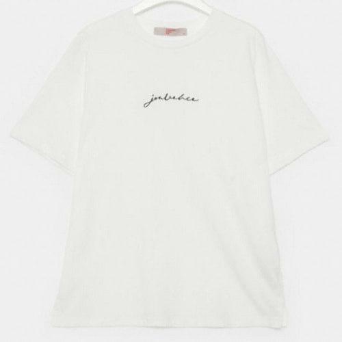 에잇세컨즈 아이보리 코튼 레터링 엠브로이더리 반소매 티셔츠 329742LYG0_이미지