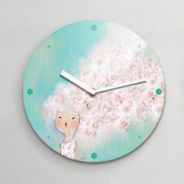 리플렉스 벚꽃소녀 무소음 아크릴 벽시계 (대) 흰색