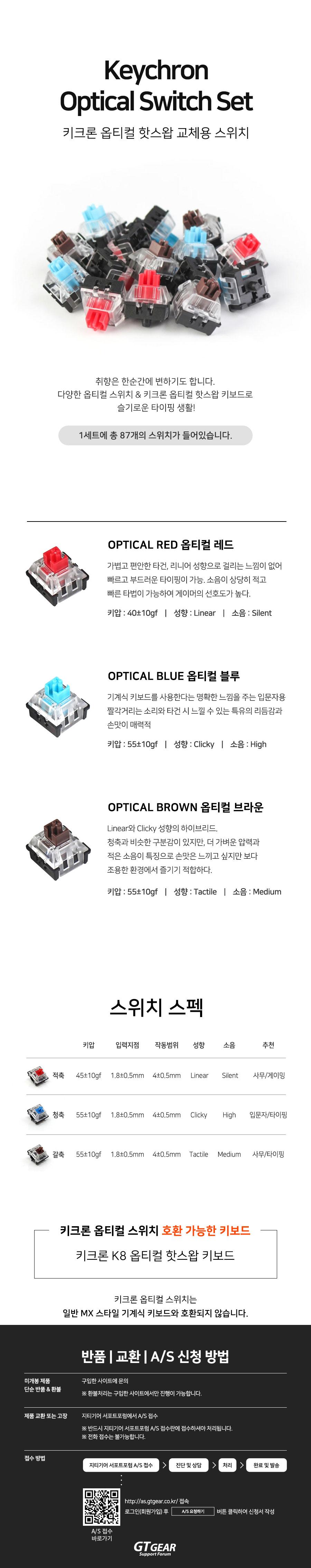 Keychron Optical Switch Set (87개, 청축)