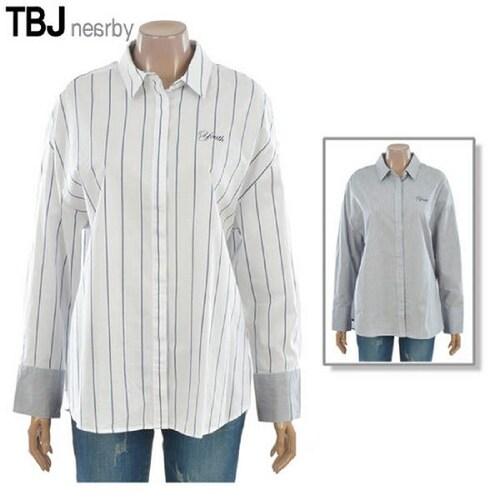 한세엠케이 티비제이 여성 루즈핏 스트라이프 셔츠 T173SH500P_이미지