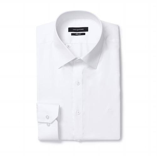 루이까또즈  슬림핏 솔리드 화이트 셔츠 Q7C011_이미지