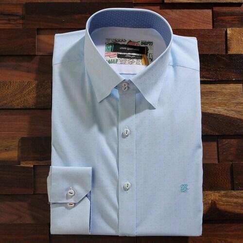 루이까또즈  긴소매 슬림핏 투버튼 스냅 스판 미니체크 셔츠 Q61242_이미지