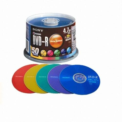 SONY DVD-R 4.7GB 16x 케익 50장 칼라_이미지