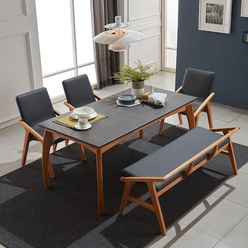 소티디자인  블칸 화산석 원목 내츄럴 식탁세트 1650 (의자3개+벤치1개)_이미지