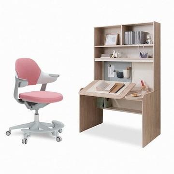 리바트  이즈마인 로넌 각도높이조절 전면책상+그로잉 의자 세트(무회전+발받침)