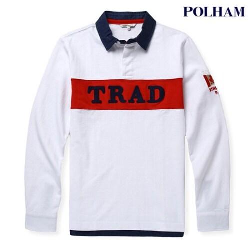 에이션패션 폴햄 남성 로고 배색 카라 티셔츠 PU1H243_WT_이미지