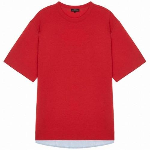 TNGT 남성 셔츠배색 면혼방 반팔티셔츠 TGTS9B332R2_이미지