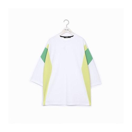 지엔코 엘록 남성 루즈핏 소매 컬러 블록 7부 티셔츠 E172MTS125M_이미지