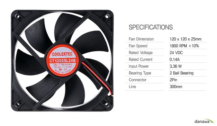 COOLERTEC CT-12025L24B-2P 제품상세정보