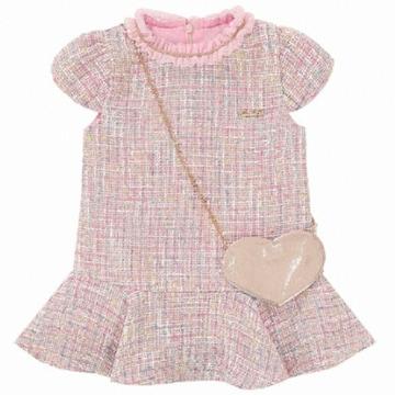 프렌치캣 핑크 트위드 가방 원피스