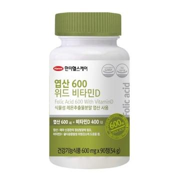 한미헬스케어 엽산 600 위드 비타민D 90정(3개)