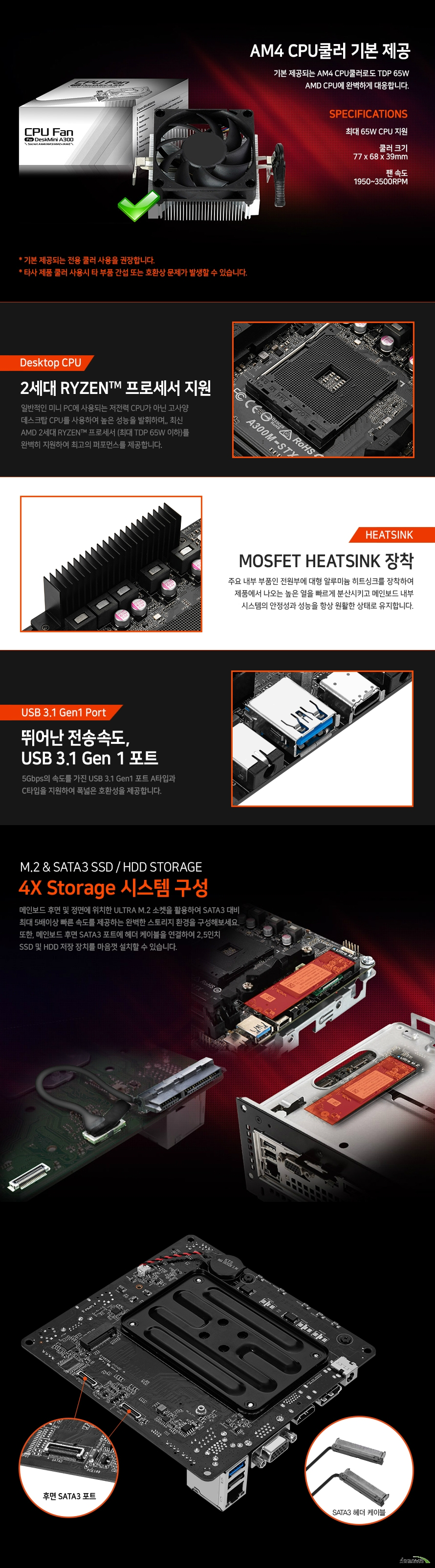 ASRock  DeskMini A300 3200G M2 Win10Pro(16GB, M2 256GB + 1TB)