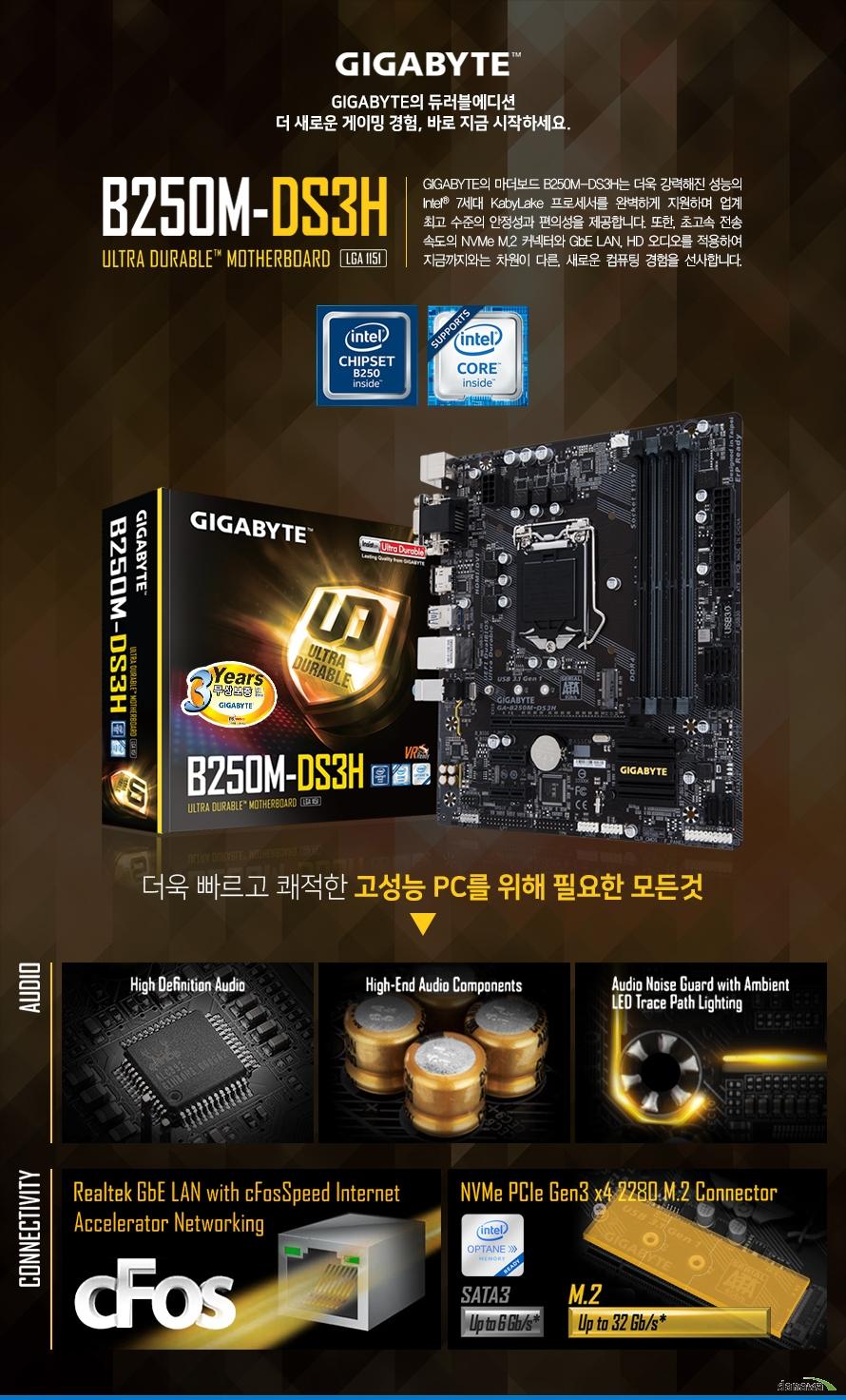 GIGABYTE B250M DS3H 피씨디렉트 GIGABYTE의 마더보드 B250M-DS3H는 더욱 강력해진 성능의 Intel 7세대 KabyLake 프로세서를 완벽하게 지원하며 업계 최고 수준의 안정성과 편의성을 제공합니다. 또한, 초고속 전송 속도의 NVMe M.2 커넥터와 GbE LAN, HD 오디오를 적용하여 지금까지와는 차원이 다른, 새로운 컴퓨팅 경험을 선사합니다.