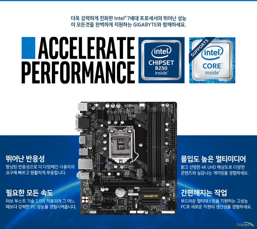 더욱 강력하게 진화한 Intel 7세대 프로세서의 뛰어난 성능이 모든것을 완벽하게 지원하는 GIGABYTE와 함께하세요. 뛰어난 반응성 향상된 반응성으로 더 다양해진 사용자의 요구에 빠르고 원활하게 부응합니다. 몰입도 높은 멀티미디어 밝고 선명한 4K UHD 해상도로 다양한 콘텐츠와 실감나는 게이밍을 경험하세요. 필요한 모든 속도 터보 부스트 기술 2.0이 적용되어 그 어느 때보다 강력한 PC 성능을 경험시켜줍니다. 간편해지는 작업 부드러운 멀티태스킹을 지원하는 고성능 PC로 새로운 차원의 생산성을 경험하세요.