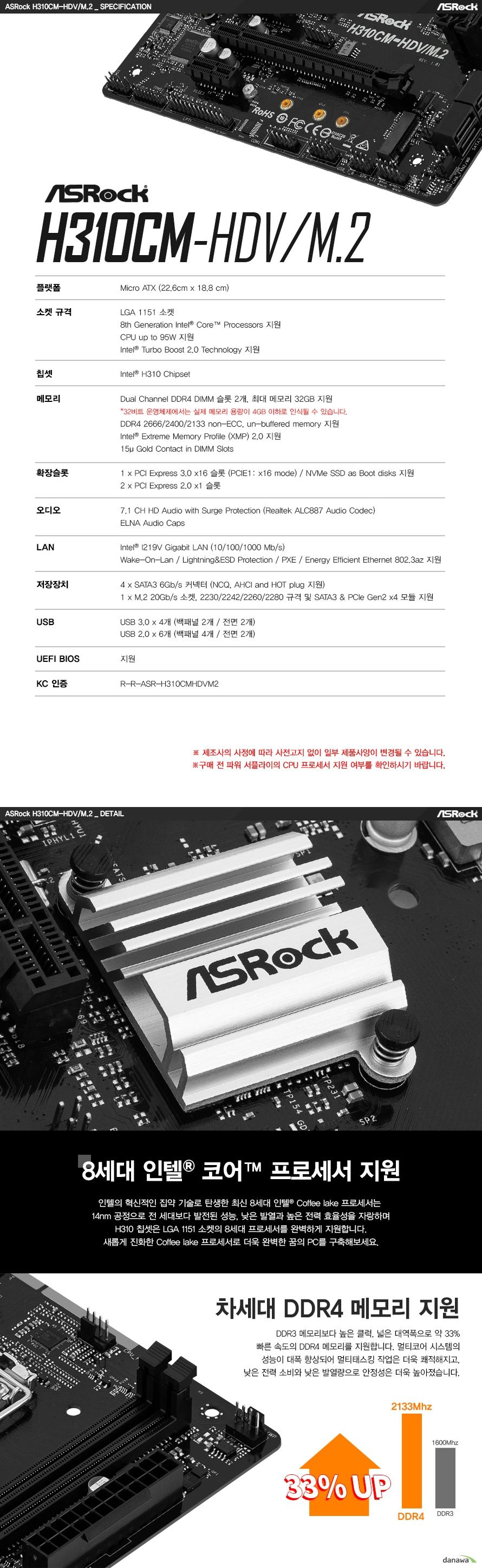 ASRock H310CM-HDV/M.2 에즈윈