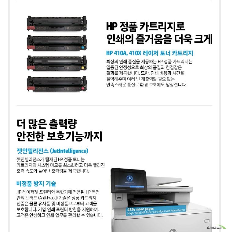HP 정품 카트리지로 인쇄의 즐거움을 더욱 크게 HP 410A, 410X 레이저 토너 카트리지 최상의 인쇄 품질을 제공하는 HP 정품 카트리지는 입증된 안정성으로 최상의 품질과 한결같은 결과를 제공합니다. 또한, 인쇄 비용과 시간을 절약해주며 여러 번 재출력할 필요 없는 만족스러운 품질로 환경 보호에도 앞장섭니다. 더 많은 출력량 안전한 보호기능까지 젯인텔리전스 (JetIntelligence) 젯인텔리전스가 탑재된 HP 정품 토너는 카트리지의 시스템 마모를 최소화하고 더욱 빨라진 출력 속도와 늘어난 출력량을 제공합니다. 비정품 방지 기술 HP 레이저젯 프린터와 복합기에 적용된 HP 독점 안티 프러드 (Anti-Fraud) 기술은 정품 카트리지 인증은 물론 유사품 및 비정품으로부터 고객을 보호합니다. 기업 인쇄 프린터 방침을 지원하여, 고객은 안심하고 인쇄 업무를 관리할 수 있습니다.