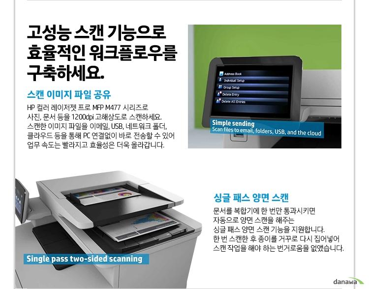 고성능 스캔 기능으로 효율적인 워크플로우를 구축하세요. 스캔 이미지 파일 공유 HP 레이저젯 프로 MFP M426 시리즈로 사진, 문서 등을 1200dpi 고해상도로 스캔하세요. 스캔한 이미지 파일을 이메일, USB, 네트워크 폴더, 클라우드 등을 통해 PC 연결없이 바로 전송할 수 있어 업무 속도는 빨라지고 효율성은 더욱 올라갑니다. 싱글 패스 양면 스캔 문서를 복합기에 한 번만 통과시키면 자동으로 양면 스캔을 해주는 싱글 패스 양면 스캔 기능을 지원합니다. 한 번 스캔한 후 종이를 거꾸로 다시 집어넣어 스캔 작업을 해야 하는 번거로움을 없앴습니다.