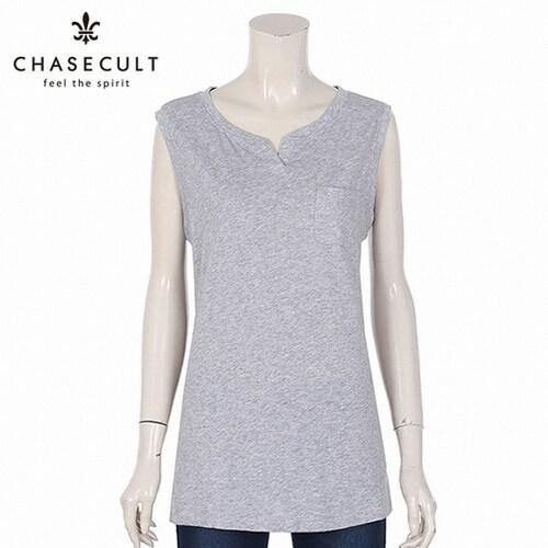지에스지엠 체이스컬트 여성 넥 변형 나시 티셔츠 GCZG5905EB0_이미지