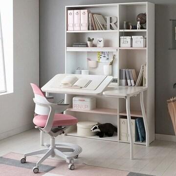 리바트  이즈마인 꼼므 각도조절 전면책상+그로잉 의자 세트(무회전+발받침)