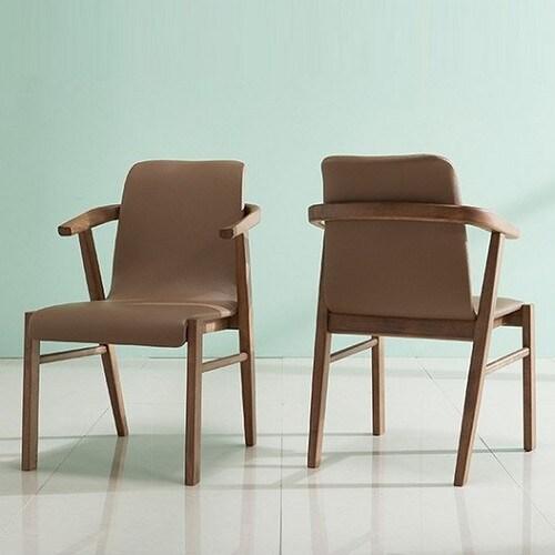 잉글랜더 아모스 고무나무 원목 의자 (2개)_이미지