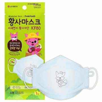 LG생활건강 에어워셔 베이직 핑크퐁 황사마스크 KF80 소형 (1개입)(1개)