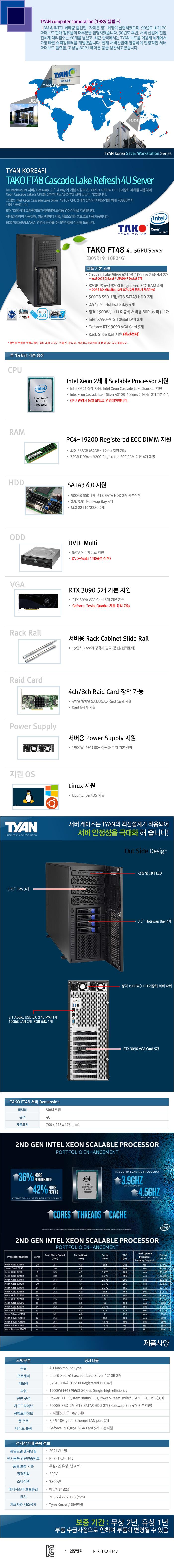 TYAN TAKO-FT48-(B05R19-10R24G)-RTX3090 5GPU (128GB, SSD 500GB + 12TB)