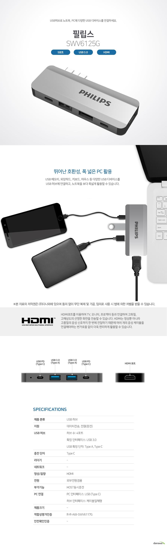 필립스 SWV6125G (5포트/USB 3.0 듀얼 Type C)