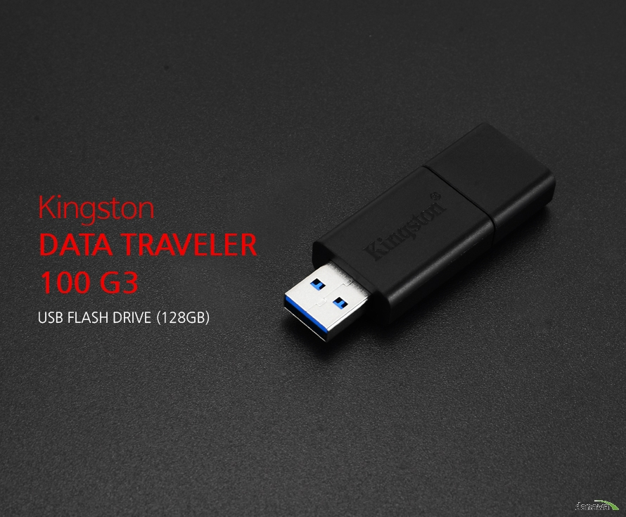 Kingston DATA TRAVELER 100 G3 USB FLASH DRIVE (128GB)  Kingston DATA TRAVELER 100 G3 kingston usb flash drive (128gb)  바쁜 생활속 USB3.0의 더 빠른 속도 읽기 속도가 최대 100MB/s 의 USB3.0포트로 최신노트북, 데스트캅 PC 및 디지털 장치에서 비디오, 사진, 음악등을 빠르고 쉽게 즐길 수 있습니다.  저장공간으로 부터 자유를 느껴보세요 고용량의 데이터, 영화, 드라마, 음악 등 다양한 파일들을 용량 걱정 없이 USB에 담아 자유롭게 데이터를 쓰고 읽을 수 있습니다.  USB3.0 및 USB2.0 완벽한 호환성 DataTraveler 100 G3는 USB 3.0 연결은 물론 USB2.0포트에서도 모두 사용이 가능한 완벽한 호환성을 갖추고 있습니다.  감각적인 슬라이드 디자인 기존 덮개방식의 불편했던 캡 대신  슬라이드 디자인으로 뚜껑의 분실 염려가 없이 편리한 사용과 휴대가 편리합니다.  Specification 제품명 : 킹스톤 DataTraveler 100 G3 용량 : 128GB 제품크기 : 60mm x 21.2mm x  10mm 인터페이스 : USB 3.0 속도 : 최대 100MB/s (쓰기속도는 보다 낮음)  KC인증번호 : MSIP-REI-MjK-DT100G3-128GB