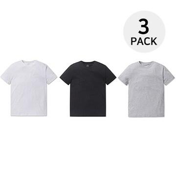 폴햄 남녀공용 면 3팩 반팔 라운드 무지 티셔츠 PHZ5TR3900