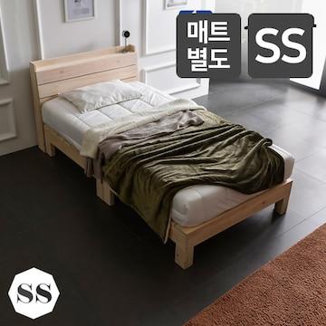 동서가구  푸름 히노끼 편백나무 수납헤드 통원목 침대 SS (매트별도)