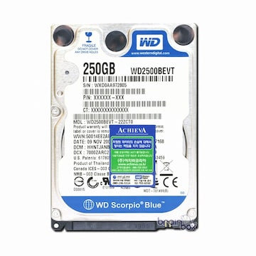 Western Digital WD MOBILE BLUE SATA2/5400/8M/노트북용 (WD2500BEVT, 250GB)_이미지