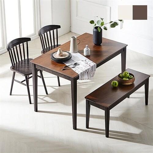 한샘  로하콤비 미뉴엣의자 식탁세트 1200 (의자2개+벤치1개)_이미지