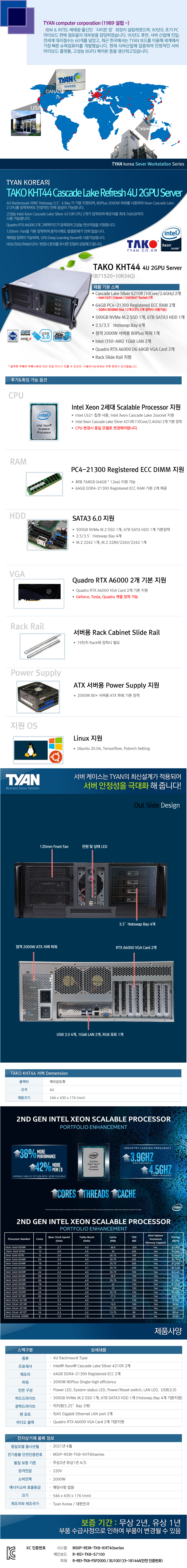 TYAN TAKO-KHT44-(B71S20-10R24Q)-RTX A6000 2GPU (128GB, M2 500GB + 6TB)