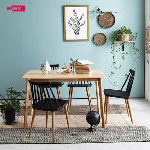 에넥스  ENNEE 미아 원목 식탁세트 1200 (의자4개)_이미지