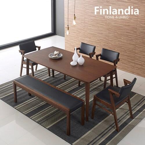올펀 핀란디아 멜로디S 식탁세트 1800 (의자4개+벤치1개)_이미지