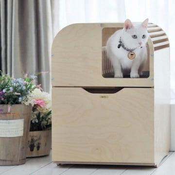 뽀떼 고양이 원목 화장실 리브(심플)