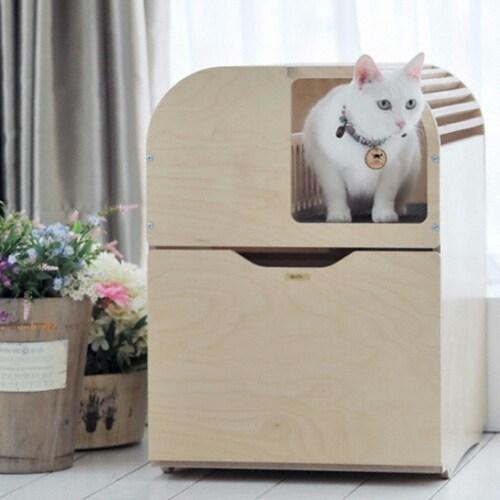 뽀떼  고양이 원목 화장실 리브 (심플)_이미지