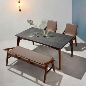 소티디자인  블칸 화산석 원목 월넛 식탁세트 1650 (의자2개+벤치1개)_이미지