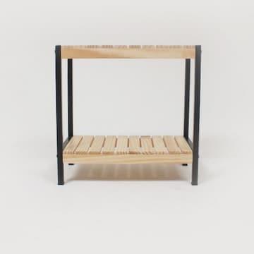 본스토리  제이픽스 원목 철제 2단 신발정리대 미니선반 (50x50cm(가로x높이))