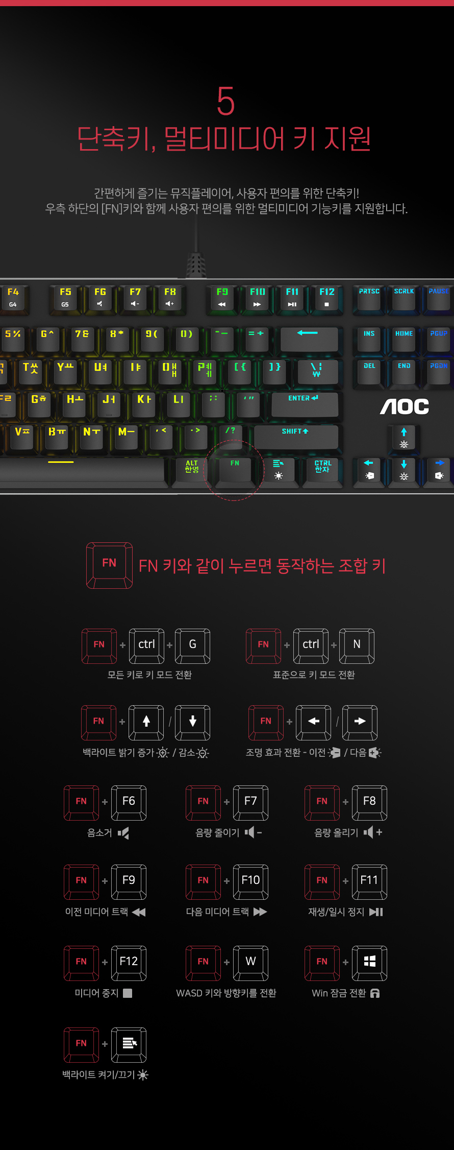 알파스캔 AOC GK500 게이밍 RGB LED 기계식